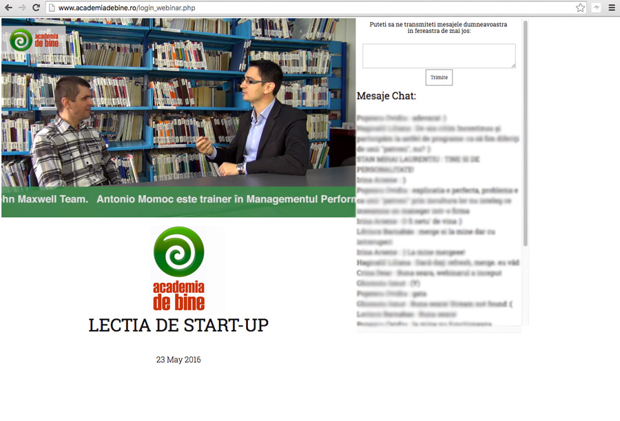 Si a fost prima Lectie de Start-Up